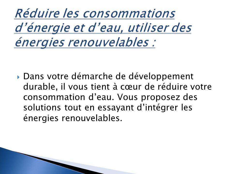 Dans votre démarche de développement durable, il vous tient à cœur de réduire votre consommation deau.