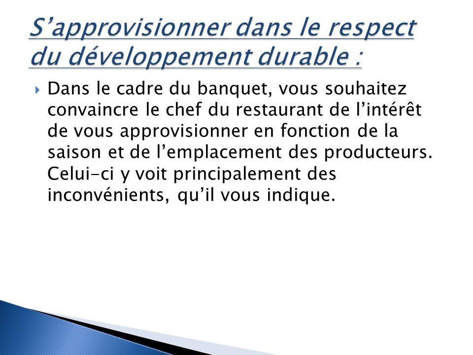 Dans le cadre du banquet, vous souhaitez convaincre le chef du restaurant de lintérêt de vous approvisionner en fonction de la saison et de lemplacement des producteurs.