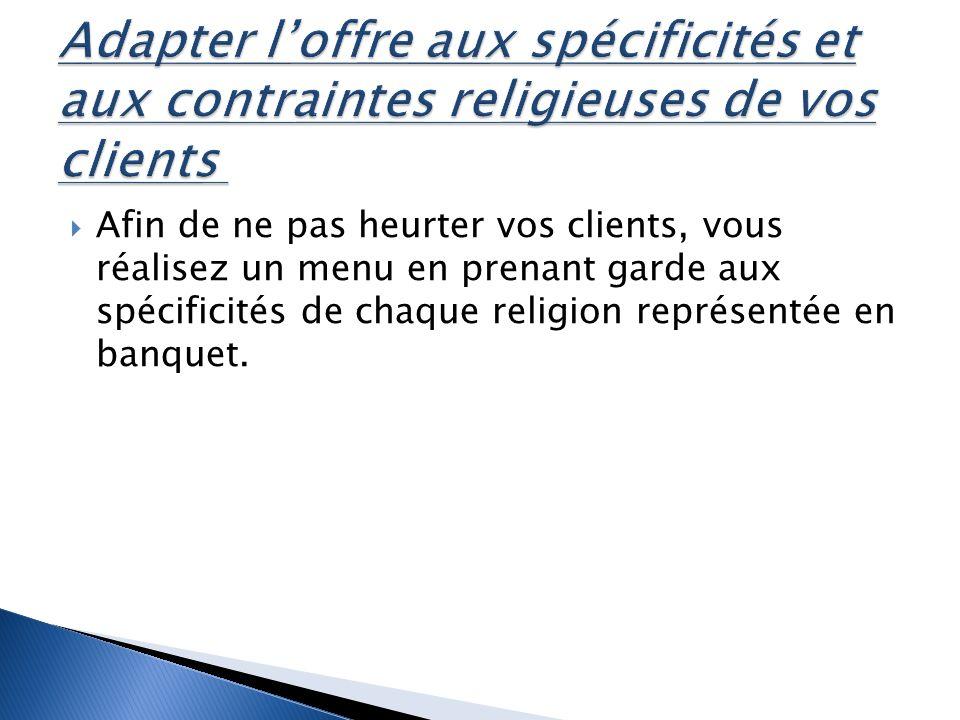 Afin de ne pas heurter vos clients, vous réalisez un menu en prenant garde aux spécificités de chaque religion représentée en banquet.