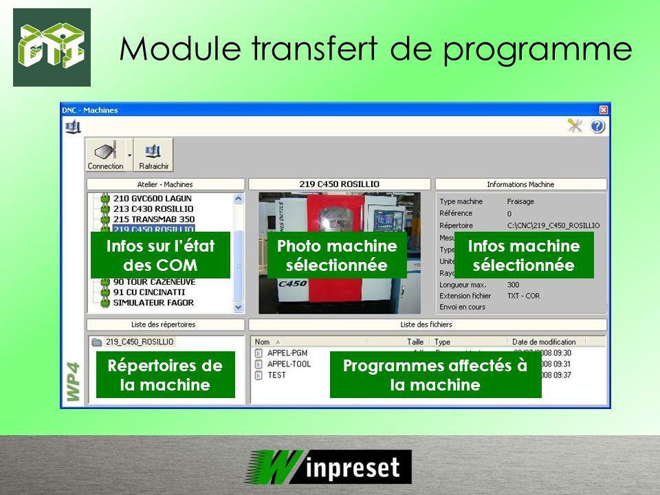 Module transfert de programme Infos sur létat des COM Photo machine sélectionnée Infos machine sélectionnée Répertoires de la machine Programmes affec