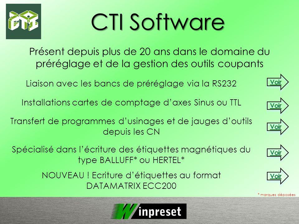 CTI Software * marques déposées Présent depuis plus de 20 ans dans le domaine du préréglage et de la gestion des outils coupants Liaison avec les banc