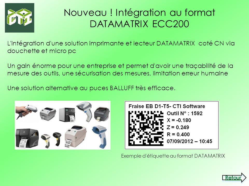 Nouveau ! Intégration au format DATAMATRIX ECC200 L'intégration d'une solution imprimante et lecteur DATAMATRIX coté CN via douchette et micro pc Un g