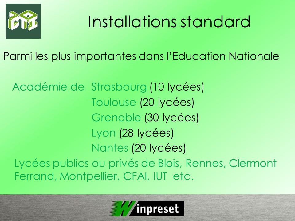 Installations standard Parmi les plus importantes dans lEducation Nationale Académie deStrasbourg (10 lycées) Toulouse (20 lycées) Grenoble (30 lycées