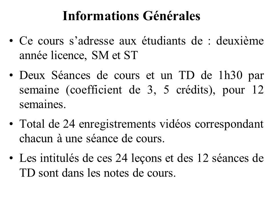 Ce cours sadresse aux étudiants de : deuxième année licence, SM et ST Deux Séances de cours et un TD de 1h30 par semaine (coefficient de 3, 5 crédits)
