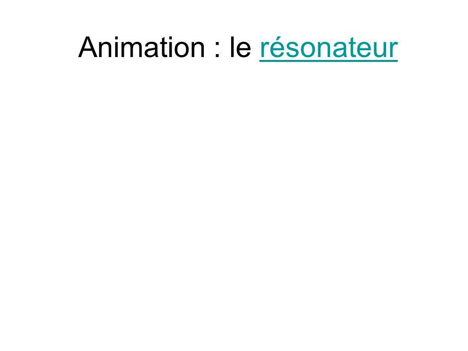 Animation : le résonateurrésonateur