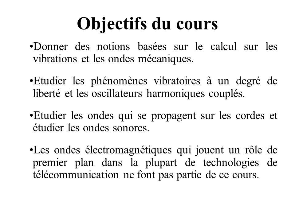 Objectifs du cours Donner des notions basées sur le calcul sur les vibrations et les ondes mécaniques. Etudier les phénomènes vibratoires à un degré d