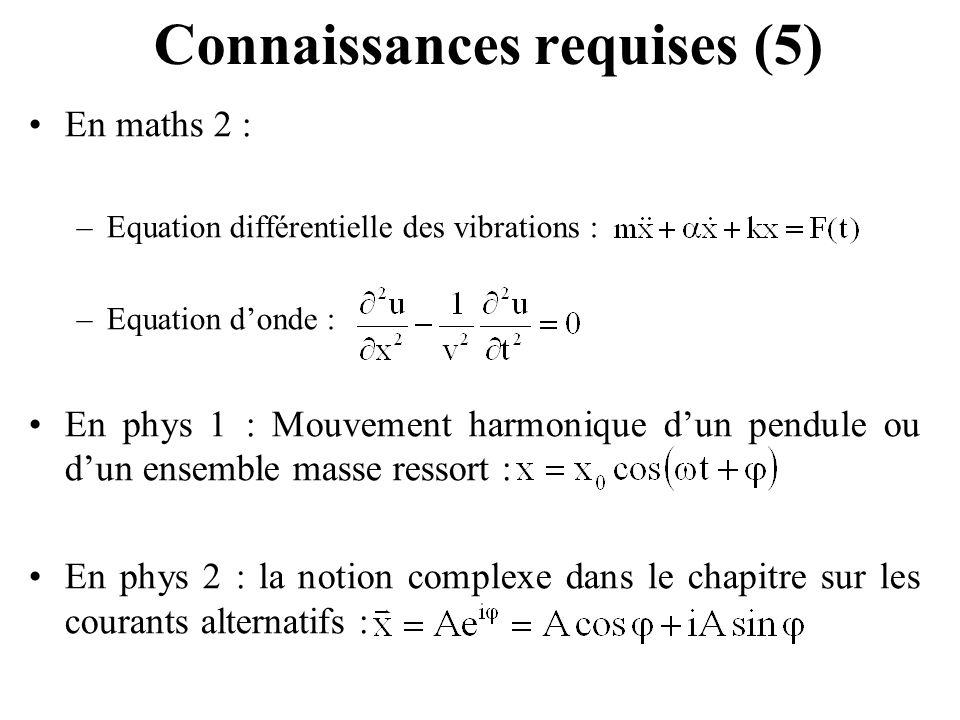 Connaissances requises (5) En maths 2 : –Equation différentielle des vibrations : –Equation donde : En phys 1 : Mouvement harmonique dun pendule ou du