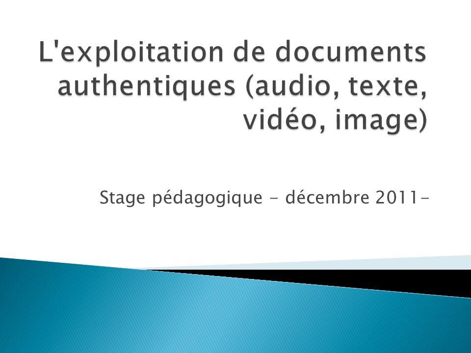 Stage pédagogique - décembre 2011-