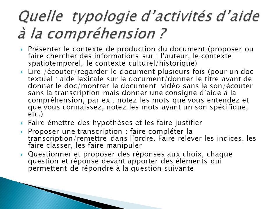 Présenter le contexte de production du document (proposer ou faire chercher des informations sur : lauteur, le contexte spatiotemporel, le contexte cu