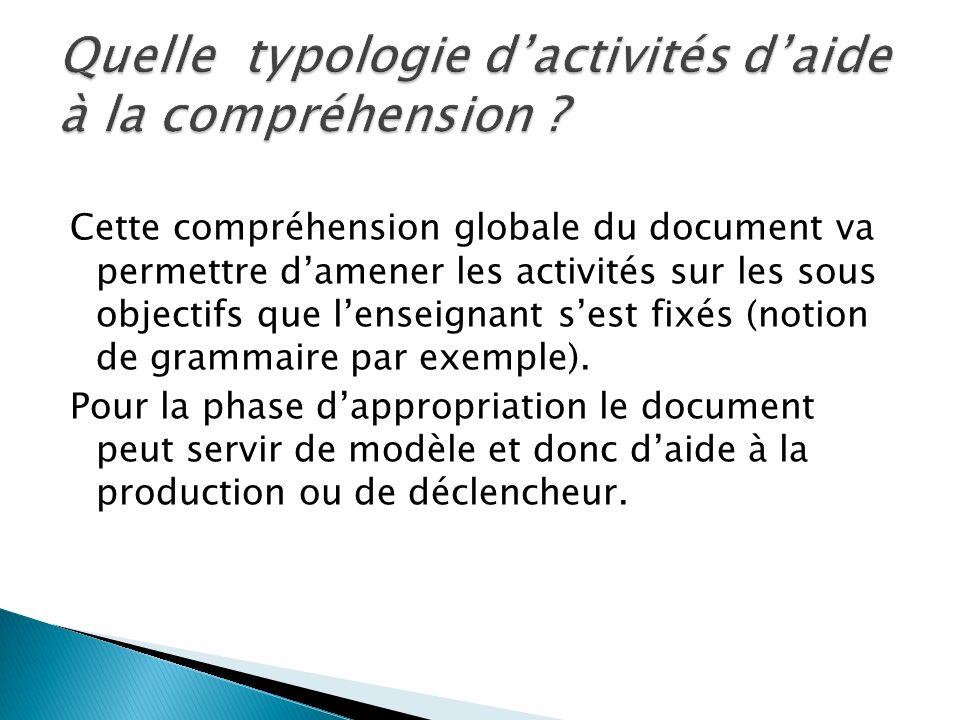 Cette compréhension globale du document va permettre damener les activités sur les sous objectifs que lenseignant sest fixés (notion de grammaire par