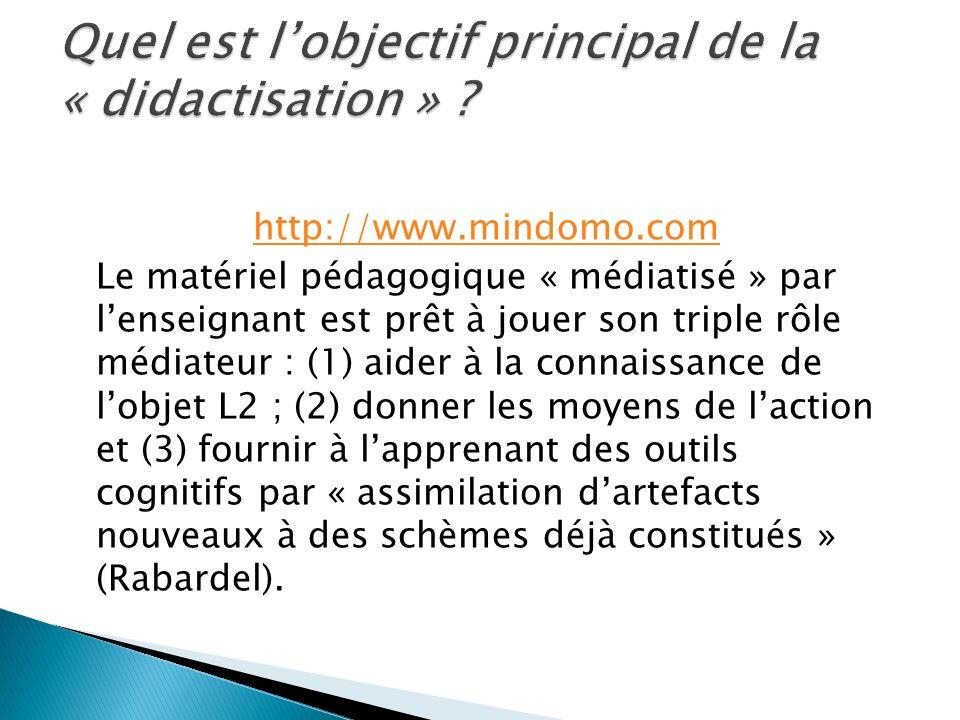 http://www.mindomo.com Le matériel pédagogique « médiatisé » par lenseignant est prêt à jouer son triple rôle médiateur : (1) aider à la connaissance