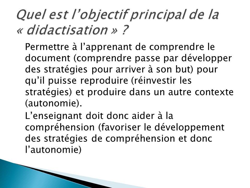 Permettre à lapprenant de comprendre le document (comprendre passe par développer des stratégies pour arriver à son but) pour quil puisse reproduire (