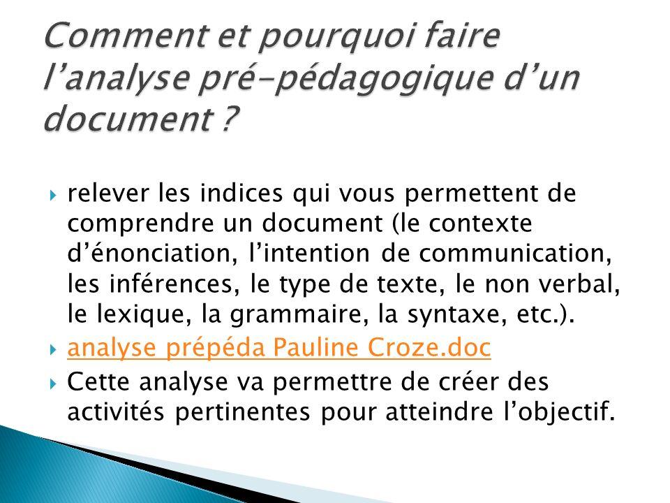 relever les indices qui vous permettent de comprendre un document (le contexte dénonciation, lintention de communication, les inférences, le type de t