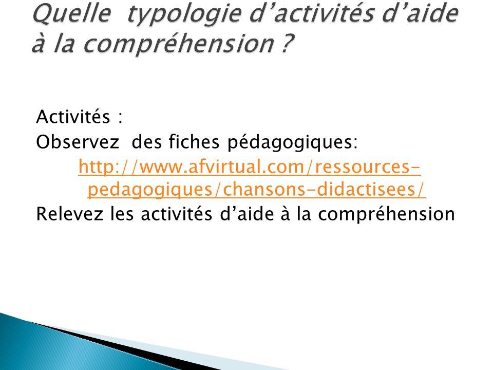 Activités : Observez des fiches pédagogiques: http://www.afvirtual.com/ressources- pedagogiques/chansons-didactisees/ Relevez les activités daide à la