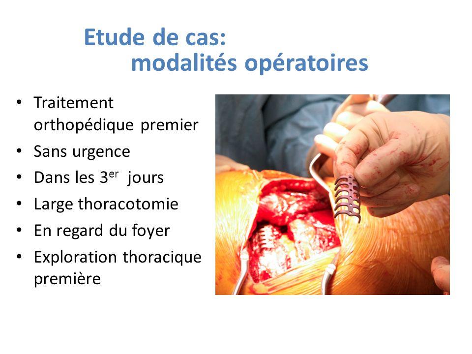 Etude de cas: modalités opératoires Traitement orthopédique premier Sans urgence Dans les 3 er jours Large thoracotomie En regard du foyer Exploration