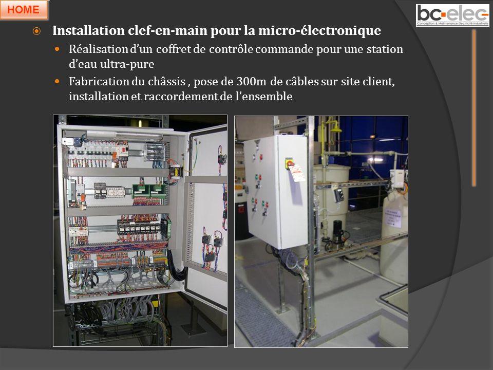 Installation clef-en-main pour la micro-électronique Réalisation dun coffret de contrôle commande pour une station deau ultra-pure Fabrication du châs