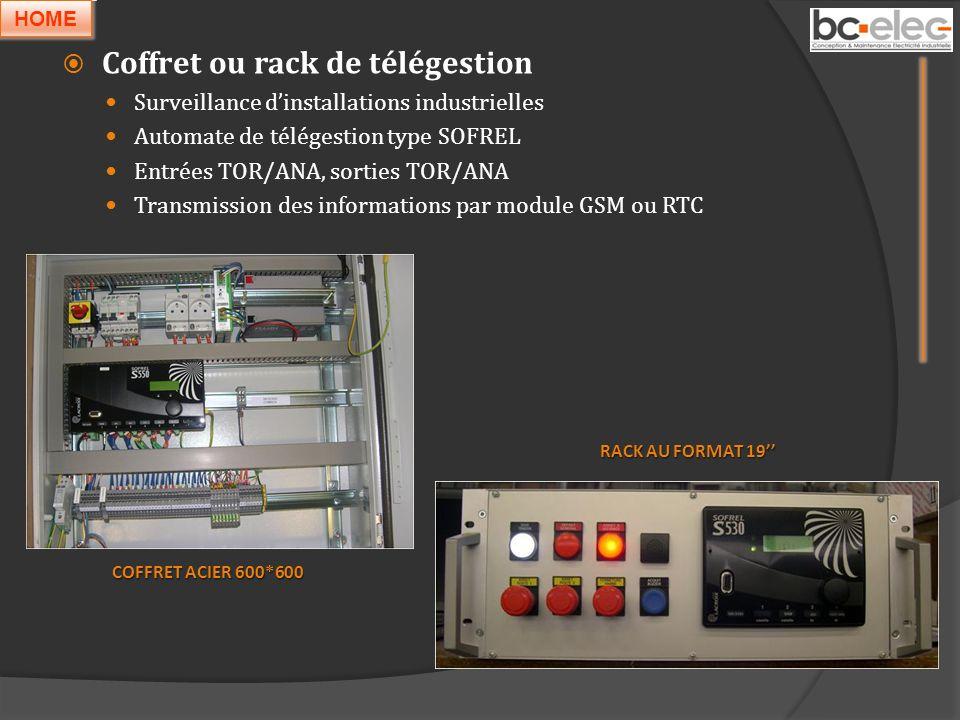 Coffret ou rack de télégestion Surveillance dinstallations industrielles Automate de télégestion type SOFREL Entrées TOR/ANA, sorties TOR/ANA Transmis
