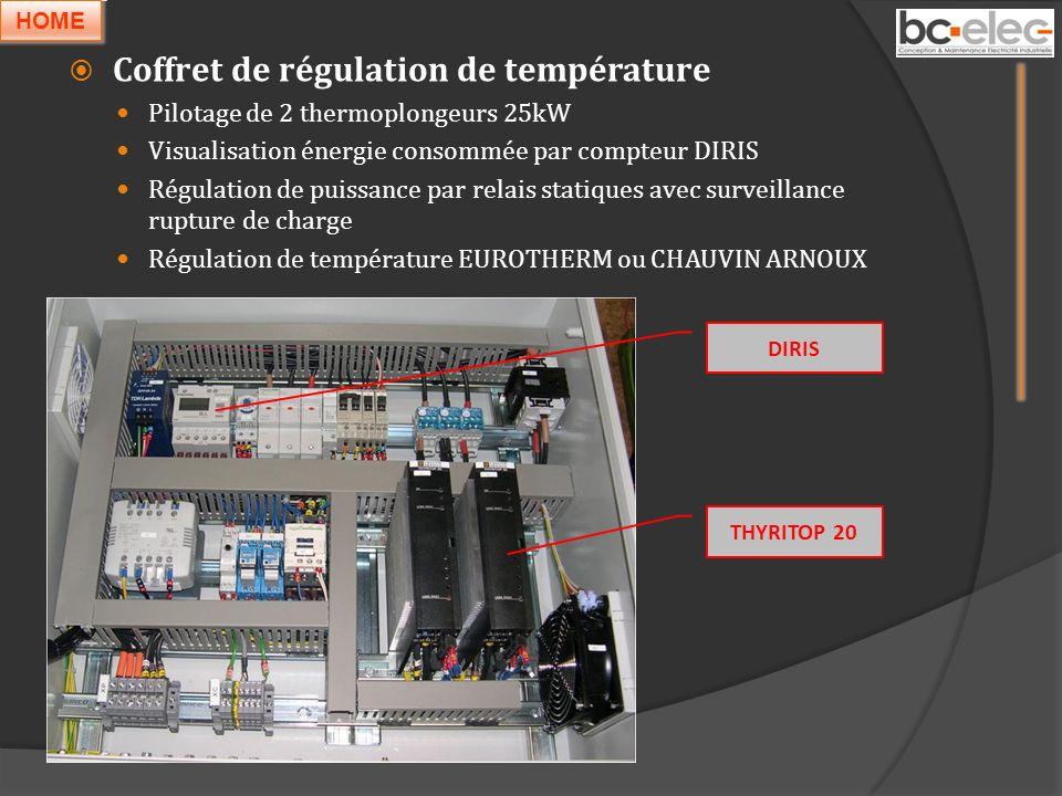 Coffret de régulation de température Pilotage de 2 thermoplongeurs 25kW Visualisation énergie consommée par compteur DIRIS Régulation de puissance par