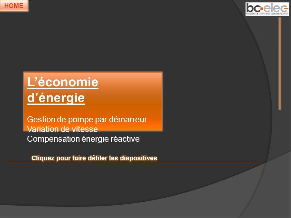 Léconomie dénergie Gestion de pompe par démarreur Variation de vitesse Compensation énergie réactive HOME