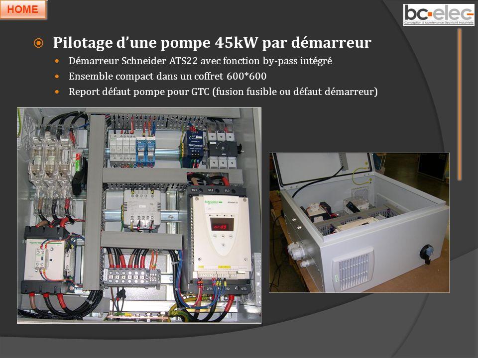 Pilotage dune pompe 45kW par démarreur Démarreur Schneider ATS22 avec fonction by-pass intégré Ensemble compact dans un coffret 600*600 Report défaut