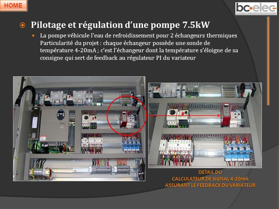 Pilotage et régulation dune pompe 7.5kW La pompe véhicule leau de refroidissement pour 2 échangeurs thermiques Particularité du projet : chaque échang