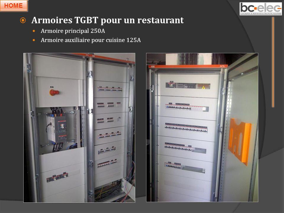 Armoires TGBT pour un restaurant Armoire principal 250A Armoire auxiliaire pour cuisine 125A HOME