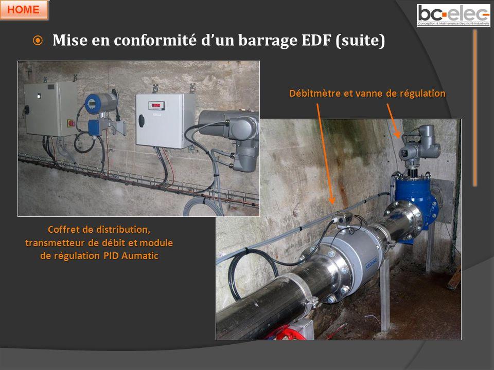 Mise en conformité dun barrage EDF (suite) Coffret de distribution, transmetteur de débit et module de régulation PID Aumatic Débitmètre et vanne de r