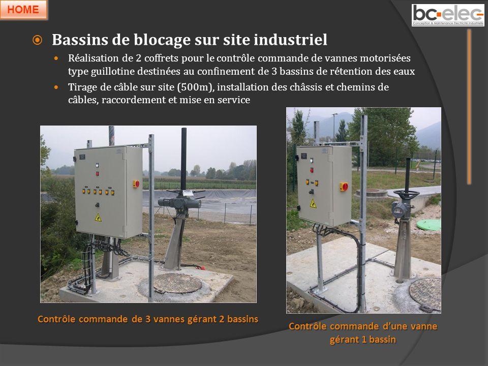 Bassins de blocage sur site industriel Réalisation de 2 coffrets pour le contrôle commande de vannes motorisées type guillotine destinées au confineme