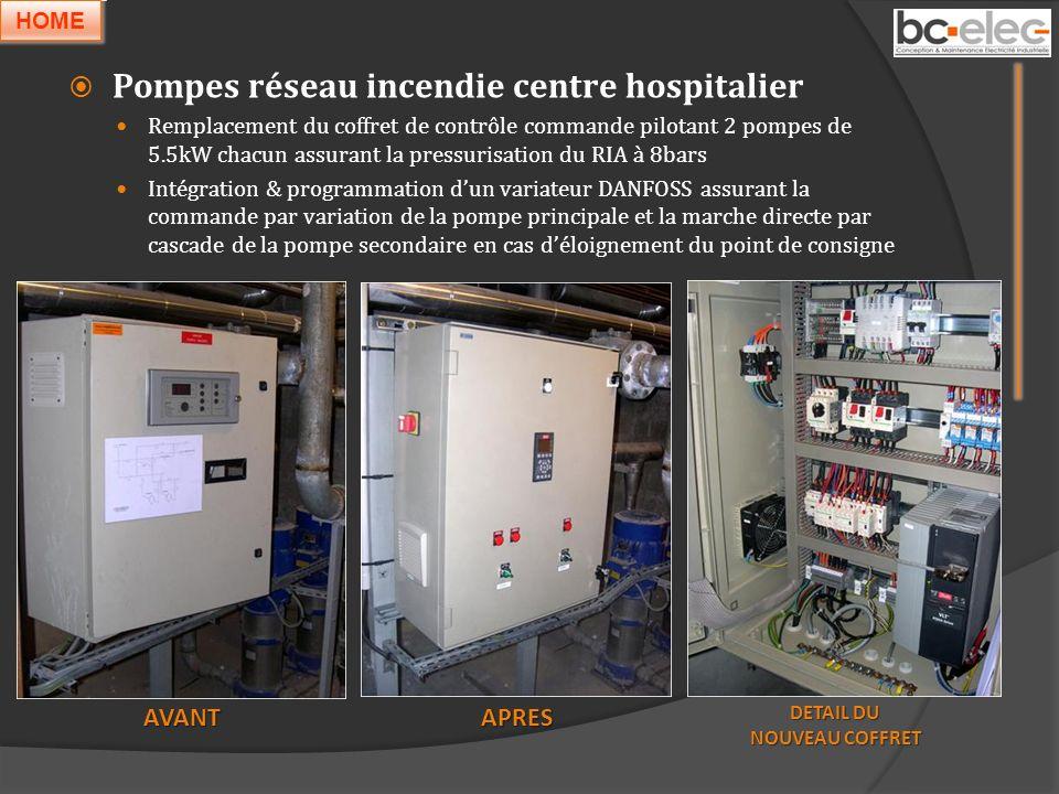 Pompes réseau incendie centre hospitalier Remplacement du coffret de contrôle commande pilotant 2 pompes de 5.5kW chacun assurant la pressurisation du