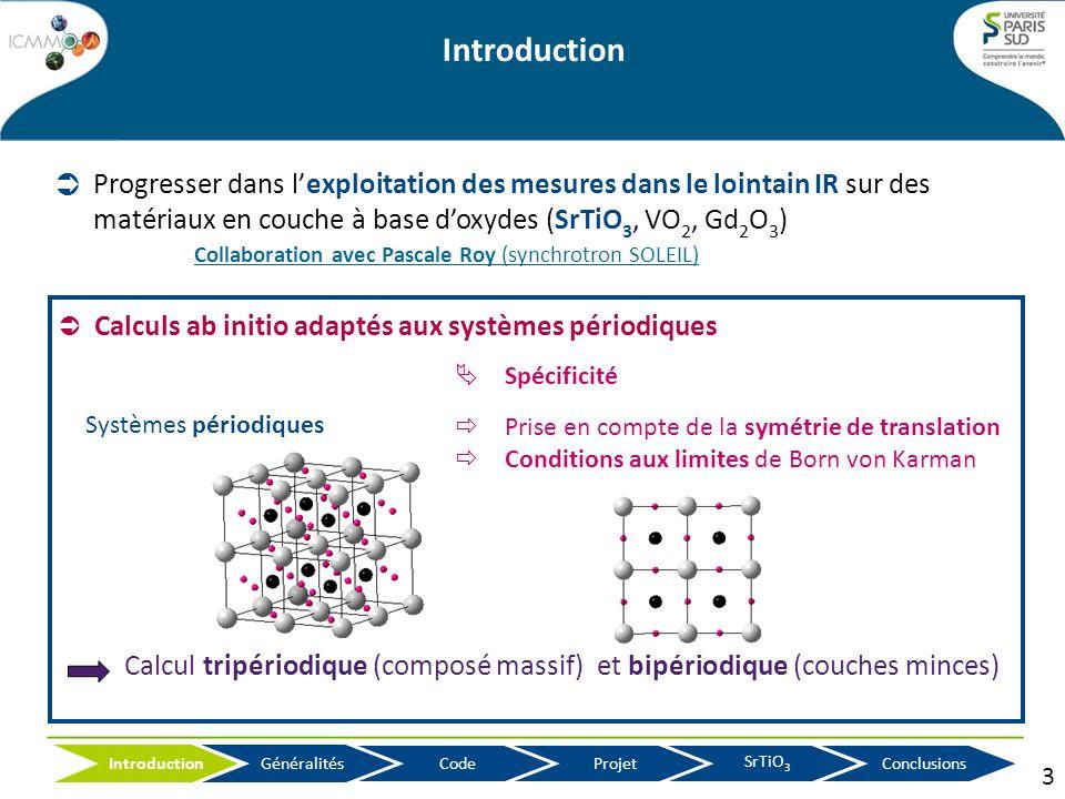 Calcul tripériodique (composé massif) et bipériodique (couches minces) Systèmes périodiques Spécificité Prise en compte de la symétrie de translation