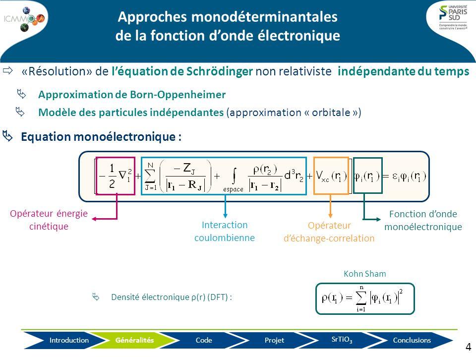 «Résolution» de léquation de Schrödinger non relativiste indépendante du temps Approches monodéterminantales de la fonction donde électronique Approxi