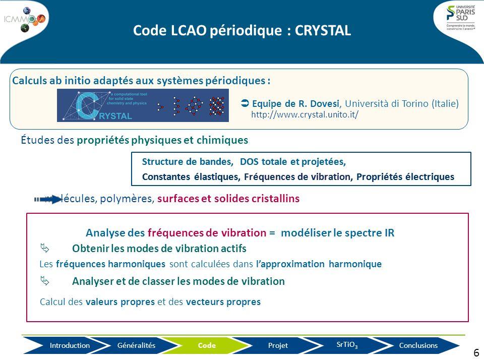 Études des propriétés physiques et chimiques molécules, polymères, surfaces et solides cristallins Analyse des fréquences de vibration = modéliser le