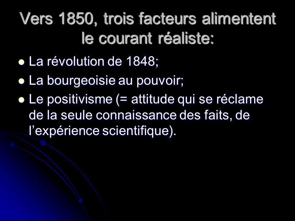 Vers 1850, trois facteurs alimentent le courant réaliste: La révolution de 1848; La révolution de 1848; La bourgeoisie au pouvoir; La bourgeoisie au pouvoir; Le positivisme (= attitude qui se réclame de la seule connaissance des faits, de lexpérience scientifique).