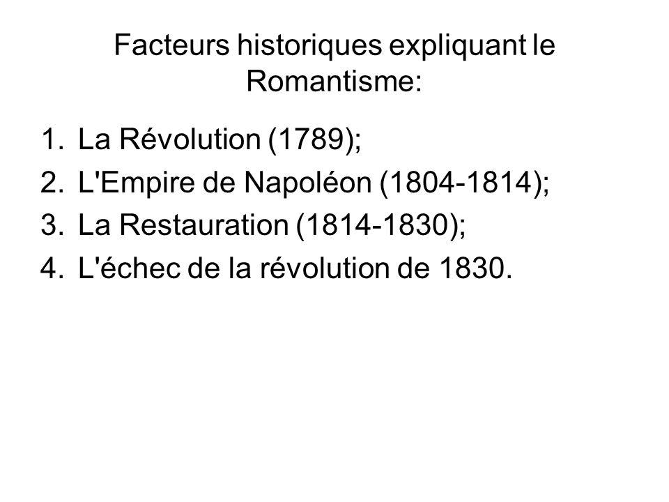 Facteurs historiques expliquant le Romantisme: 1.La Révolution (1789); 2.L Empire de Napoléon (1804-1814); 3.La Restauration (1814-1830); 4.L échec de la révolution de 1830.