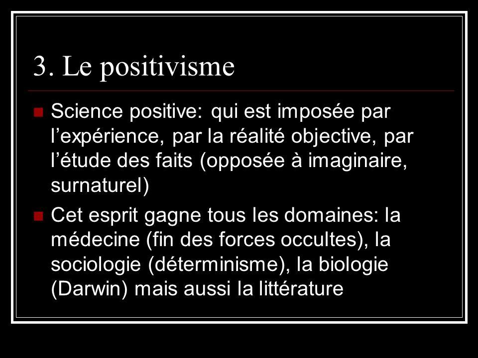 3. Le positivisme Science positive: qui est imposée par lexpérience, par la réalité objective, par létude des faits (opposée à imaginaire, surnaturel)