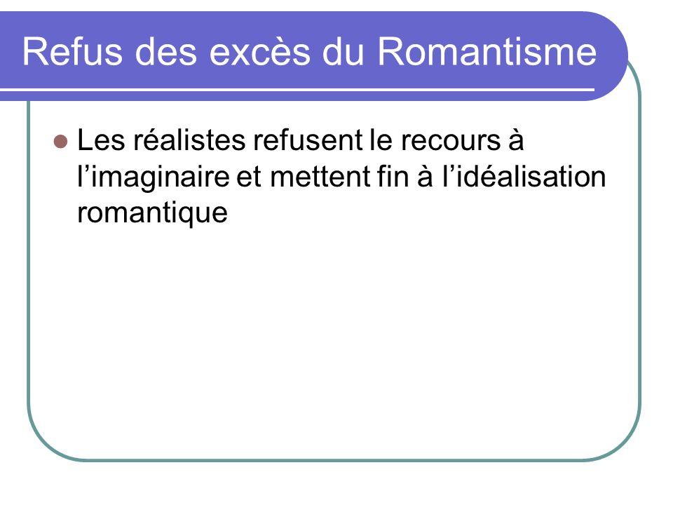 Refus des excès du Romantisme Les réalistes refusent le recours à limaginaire et mettent fin à lidéalisation romantique