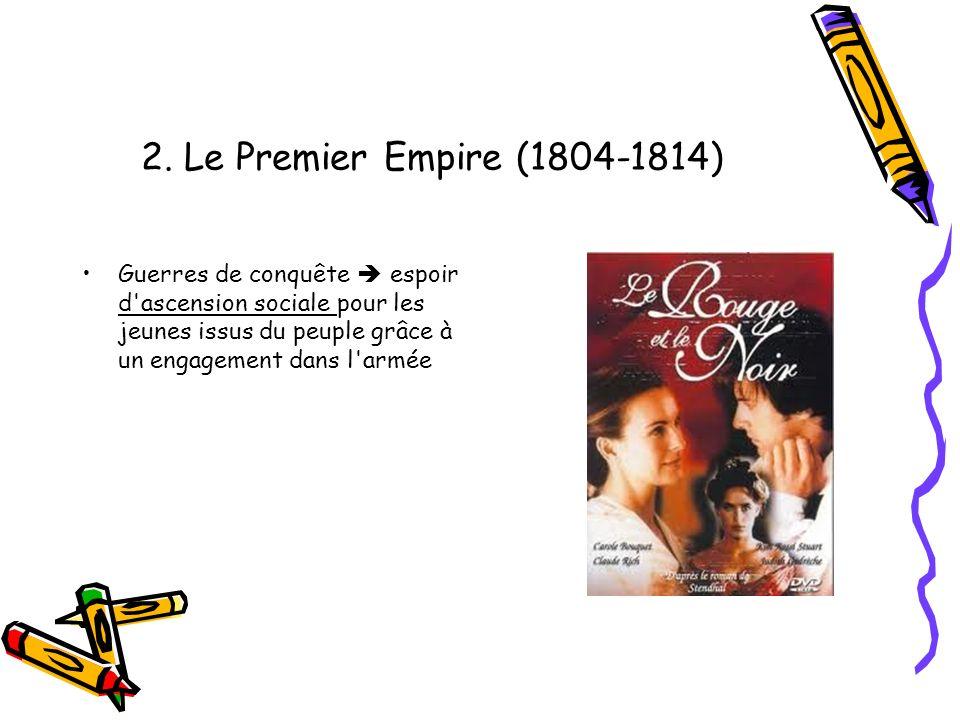 2. Le Premier Empire (1804-1814) Guerres de conquête espoir d'ascension sociale pour les jeunes issus du peuple grâce à un engagement dans l'armée
