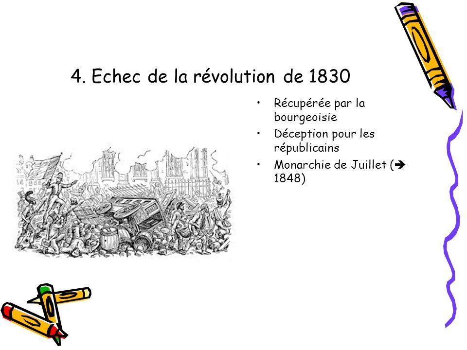 4. Echec de la révolution de 1830 Récupérée par la bourgeoisie Déception pour les républicains Monarchie de Juillet ( 1848)