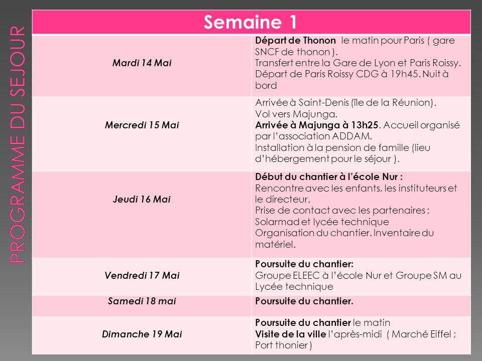 Semaine 1 Mardi 14 Mai Départ de Thonon le matin pour Paris ( gare SNCF de thonon ). Transfert entre la Gare de Lyon et Paris Roissy. Départ de Paris