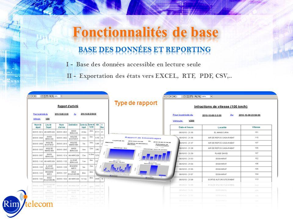 I - Base des données accessible en lecture seule II - Exportation des états vers EXCEL, RTF, PDF, CSV,..