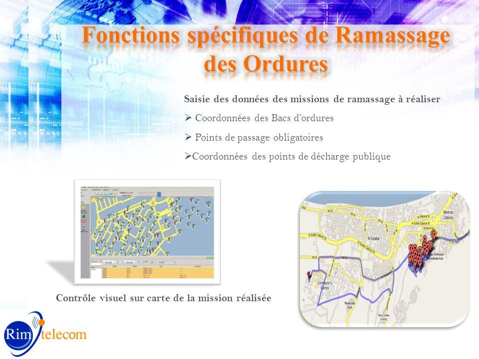 Saisie des données des missions de ramassage à réaliser Coordonnées des Bacs dordures Points de passage obligatoires Coordonnées des points de décharge publique Contrôle visuel sur carte de la mission réalisée