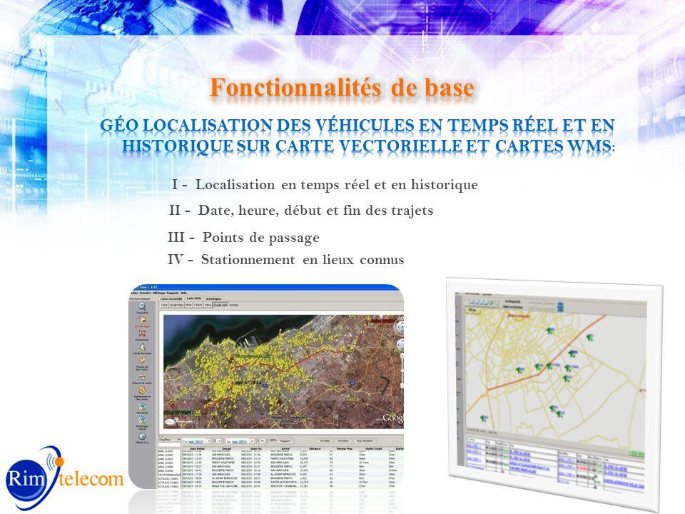I - Localisation en temps réel et en historique II - Date, heure, début et fin des trajets III - Points de passage IV - Stationnement en lieux connus