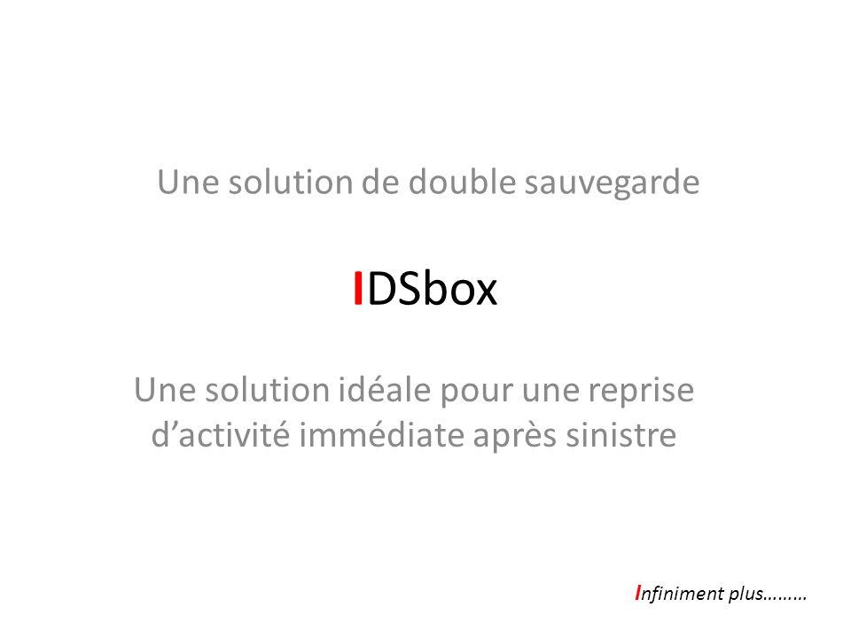IDSbox Une solution idéale pour une reprise dactivité immédiate après sinistre Une solution de double sauvegarde I nfiniment plus………