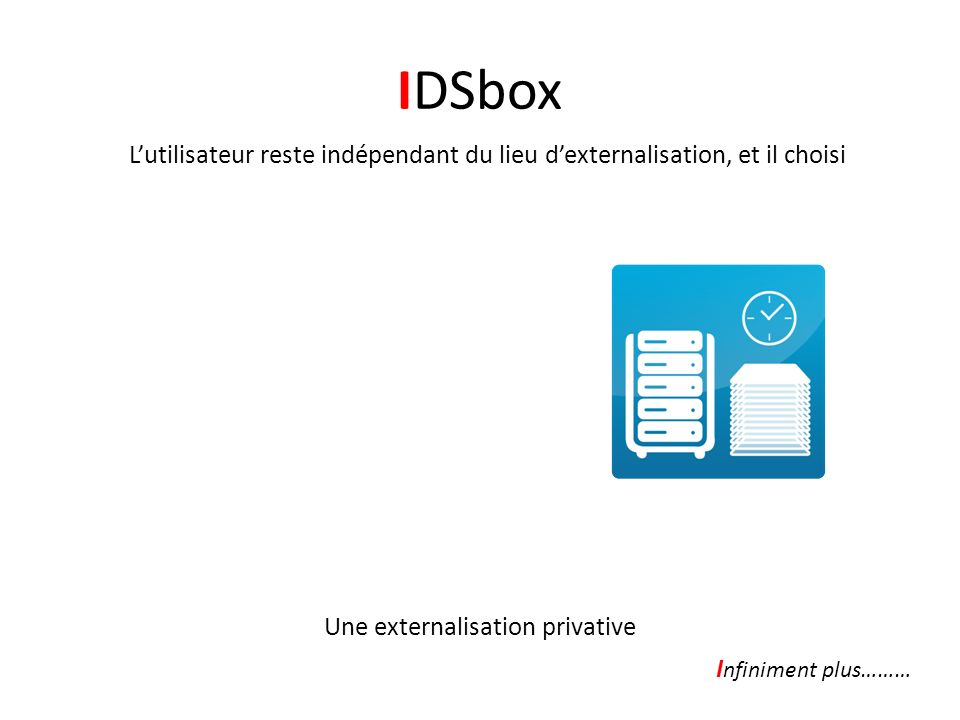 IDSbox Lutilisateur reste indépendant du lieu dexternalisation, et il choisi -Quand externaliser -Ce quil souhaite externaliser -Combien de fois externaliser Une externalisation privative I nfiniment plus………