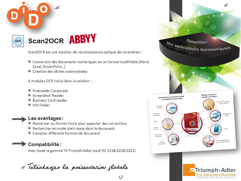 Scan2OCR Scan2OCR est une solution de reconnaissance optique de caractères : Conversion des documents numériques en un format modifiable (Word, Excel,