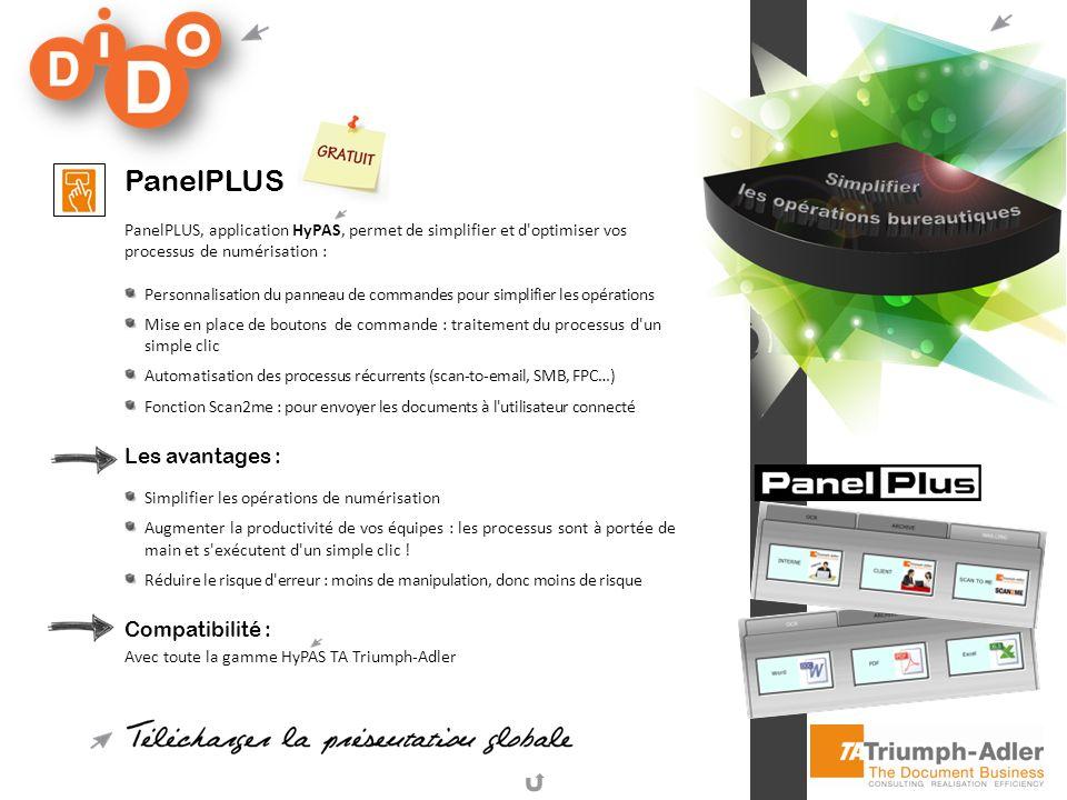 PanelPLUS PanelPLUS, application HyPAS, permet de simplifier et d'optimiser vos processus de numérisation : Personnalisation du panneau de commandes p