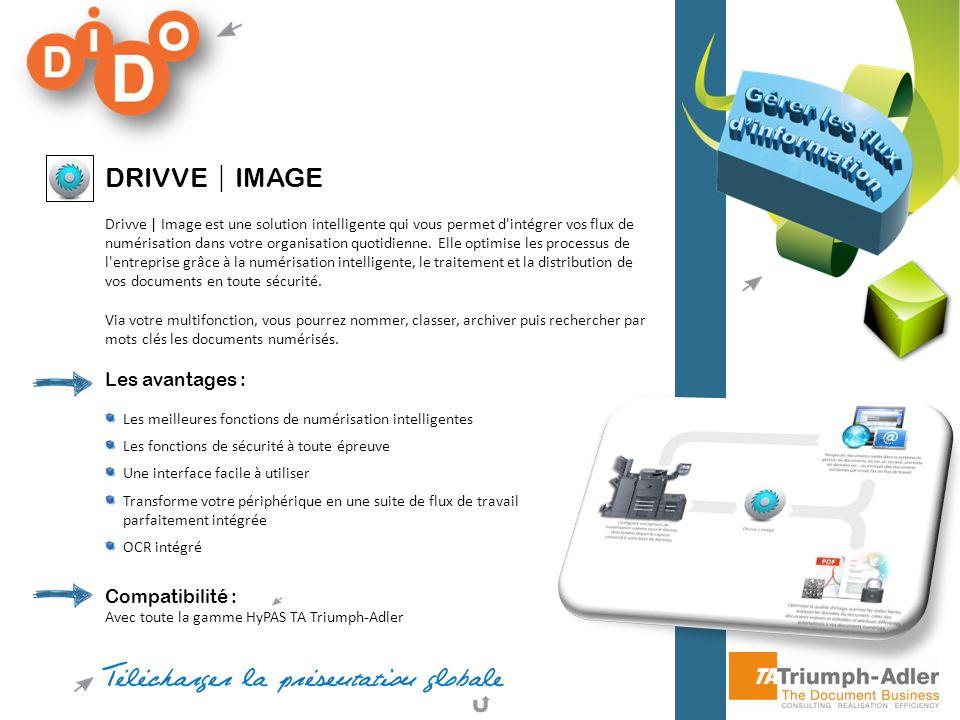 DRIVVE IMAGE Drivve | Image est une solution intelligente qui vous permet d'intégrer vos flux de numérisation dans votre organisation quotidienne. Ell