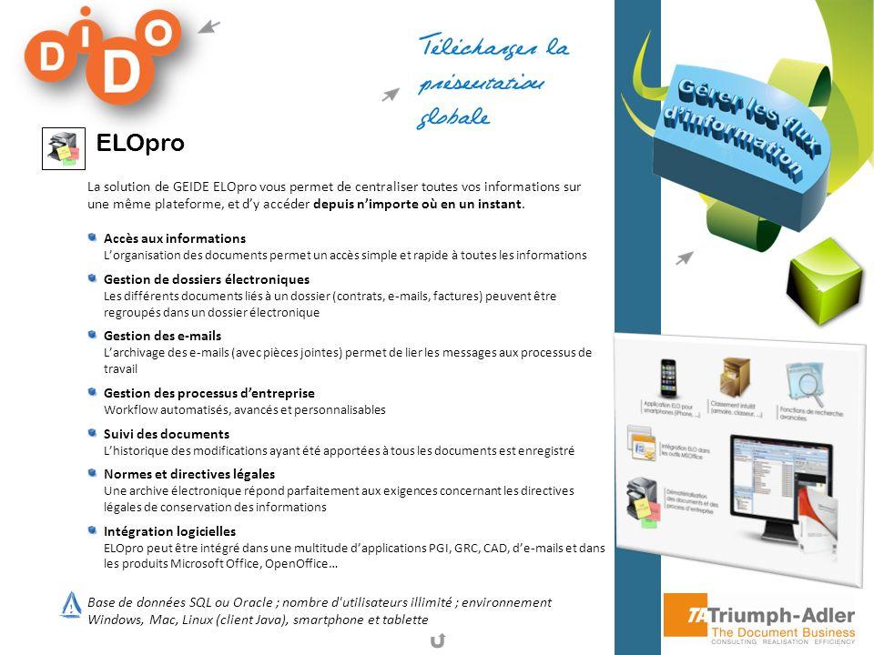 ELOpro La solution de GEIDE ELOpro vous permet de centraliser toutes vos informations sur une même plateforme, et dy accéder depuis nimporte où en un