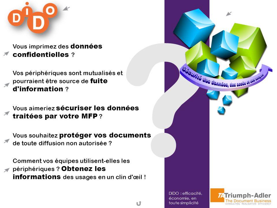DiDO : efficacité, économie, en toute simplicité ? Vous imprimez des données confidentielles ? Vos périphériques sont mutualisés et pourraient être so