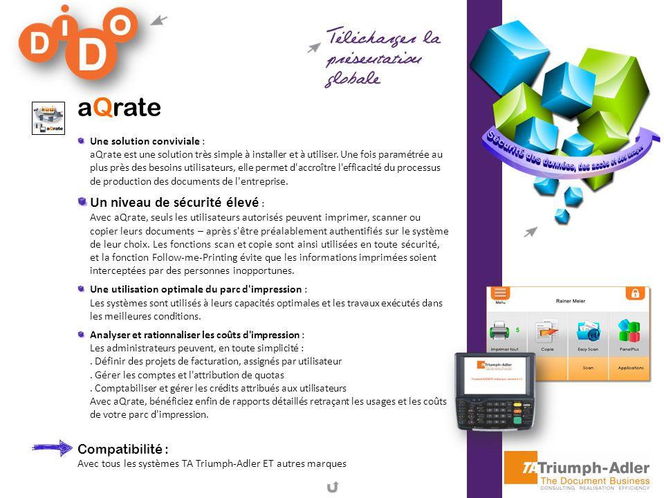 aQrate Une solution conviviale : aQrate est une solution très simple à installer et à utiliser. Une fois paramétrée au plus près des besoins utilisate